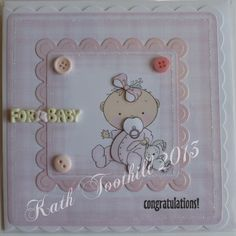 New baby girl made in Craft Artist with image from the clipart fairy CD.
