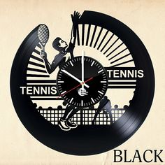 Tennis Vinyl Wall Clock - Get unique living room wall decor - Gift ideas for friends, teens, boys –Sport Unique Art Design - Leave us a feedback and win your custom clock: Home & Kitchen