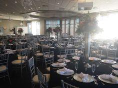 Reception at Stockton Golf & Country Club. Linens and decor by Esmeralda of E Party Decor.