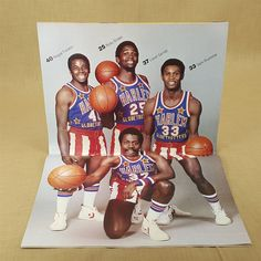 Harlem Globetrotters 1980 Magazine Book Centerfold Poster Coca-Cola Advertising