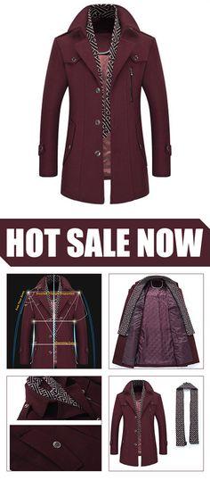 b5fa2e0806290e  ON SALE  Detachable Scarf Woolen Long Trench Coat Warm Casual Business  Collar Jacket. luckinbag · Men Clothing