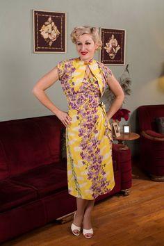 Vintage 1940s Dress Rare Kilohana Cold Rayon Purple by FabGabs