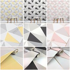 Apex Geometric Wallpaper - Available In 4 Colours: Black and Silver FD41994, Rose Gold & Pink FD41993, Blue FD41992 and Yellow and Grey FD41991. This beautiful Apex Geometric wallpaper features a contemporary geometric style design of abstract triangles with both matte and metallic sections and a metallic outline. | eBay!