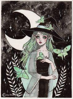 Day7 Inktober- Luna moth witch by ARiA-Illustration on DeviantArt
