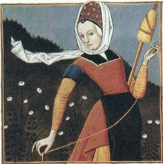this type of drop spindle wool spinning is still practiced in Ecuador. The Distaff Gospels is a century French collection of more than 250 popular beliefs, forming a sort of gospel of late medieval women's wisdom Medieval Costume, Medieval Dress, Medieval Clothing, Medieval Life, Medieval Art, Renaissance Art, Renaissance Fashion, Spinning Wool, Hand Spinning