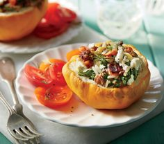Stuffed Pattypan Squash with Beef and Feta Recipe (subtract/substitute the beef)