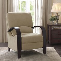 @Overstock.com - Riverside Sand Recliner. With a streamlined look and lovely bent wood arms and legs, this two-position Riverside recliner offers exceptional comfort and lasting style. Finished in sand colored upholstery, this chair provides relaxation you're certain to appreciate.  http://www.overstock.com/Home-Garden/Riverside-Sand-Recliner/4450286/product.html?CID=214117 $279.99