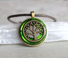 green tree of life necklace cord necklace mens by NatureWithYou