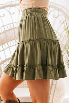 The Perfect Olive Tiered Ruffle Skirt For Spring! $37, FAST AND FREE US SHIPPING! Spring Skirts, Ruffle Skirt, Short Skirts, Hemline, Strong, Free, Dresses, Fashion, Vestidos