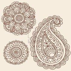 Hand-Drawn Henna Mehndi Tattoo Flowers and Paisley Doodle Illustration Design Elements