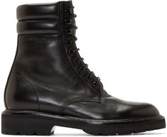 0b2654b7277 Saint Laurent - Black Leather High Combat Boots Bojové Boty