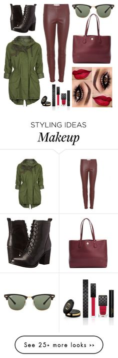 """Military Style "" by thais-carvalho-i on Polyvore featuring Ray-Ban, Steve Madden, Topshop, Tory Burch, Gucci and dVb Victoria Beckham"