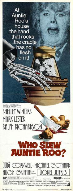 Who Slew Auntie Roo? (1972)Stars: Shelley Winters, Mark Lester, Chloe Franks, Ralph Richardson, Lionel Jeffries, Hugh Griffith, Judy Cornwell, Michael Gothard ~  Director: Curtis Harrington
