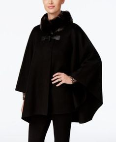 Jones New York Faux-Fur-Collar Double Faced Toggle Cape - Black
