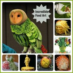Food art is the process of creating unbelievable models such as animals, Birds, Statues, Faces and other interesting themes by arranging or carving food.