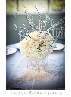 Winter Wedding: Silver & White floral centerpiece