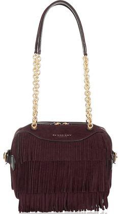 005021aae2 sac en daim bordeaux à franges et chaine dorée, soldes burberry prorsum