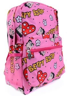 Betty Boop Pink Red Hearts Flowers Backpack Purse