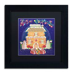 "Trademark Art 'Xmas Gingerbread House' Framed Graphic Art Print Mat Color: Black, Size: 11"" H x 11"" W x 0.5"" D"
