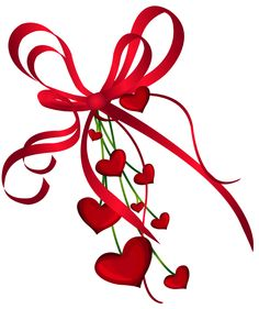 Valentines Day Hearts Decor with Red Bow PNG Clipart