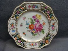 Richard Klemm Hand Painted Porcelain Dresden Flowers Reticulated Plate #4