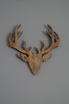 wooden deer head  wall decoration by PracowniaEMBE on Etsy