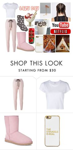 """""""Lazy Day"""" by taurus04 ❤ liked on Polyvore featuring Markus Lupfer, RE/DONE, UGG Australia, Therapy, BaubleBar, LazyDay, lazy, food and getawayfromme"""