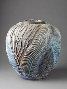 a potter who has clearly mastered the art of geologic movement; this piece is among the plethora of talent showcased from the La Borne area via the link [POTTERY, Georges Sybesma - La Borne, France / via veniceclayartists] click now for more info. Pottery Sculpture, Pottery Vase, Ceramic Pottery, Slab Pottery, Thrown Pottery, Ceramic Pots, Ceramic Clay, Porcelain Ceramic, Clay Texture