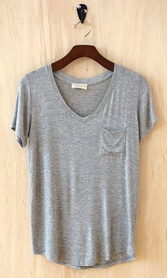 Perfectly Imperfect One-Pocket Shabby Tee, Heather Gray - Conversation Pieces