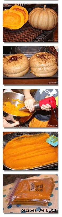 Making Pumpkin Puree ~T~ Love to make this and have it on hand. Get pumpkins the day after Halloween for cheap at the store if you don't have a garden or a farmers market. Also try local pumpkin patches after Halloween.
