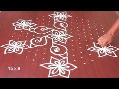 Chukkala Muggulu With Shankam And Flowers 15 x 8 Rangoli Designs Simple Diwali, Small Rangoli, Rangoli Designs With Dots, Rangoli With Dots, Beautiful Rangoli Designs, Rangoli Borders, Rangoli Border Designs, Kolam Designs, Indian Rangoli
