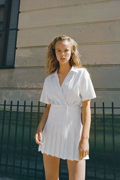 BOX PLEAT JUMPSUIT DRESS | ZARA United Kingdom Pleated Jumpsuit, Jumpsuit Dress, Zara United Kingdom, Zara United States, Box Pleats, Zara Dresses, Her Style, Wrap Dress, White Dress