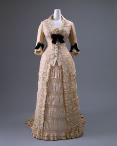 Dinner dress by Mon. Vignon via Costume Institute Medium: silk, glass Gift of Mary Pierrepont Beckwith, 1969 Metropolitan Museum of Art, New York,. Victorian Gown, Victorian Fashion, Vintage Fashion, Antique Clothing, Historical Clothing, Historical Dress, 1800s Clothing, Historical Costume, Vintage Gowns