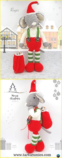 Crochet Roger the Christmas Mouse Amigurumi Free Pattern - Amigurumi Crochet Mouse Toy Softies Free Patterns