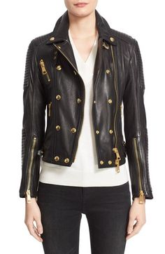 Burberry Brit 'Colefield' Double Breasted Leather Jacket available at #Nordstrom