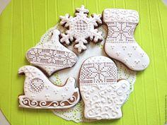 Купить Пряники Новогодние Снежные - пряники, белый, козули, челябинск, пряник расписной, пряник имбирный