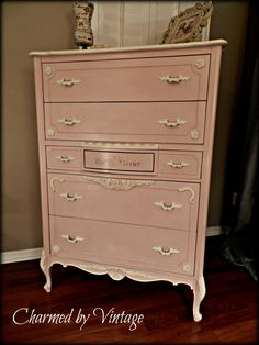 Vintage French Pretty in Pink Chest of Drawers by CharmedByVintage