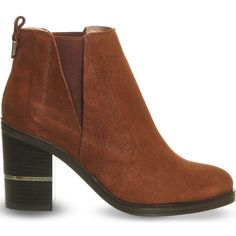 OFFICE Illusion suede Chelsea boots (255 RON) ❤ liked on Polyvore featuring shoes, boots, ankle booties, zapatos, ankle boots, botas, brown suede gold, short brown boots, brown ankle boots and brown boots