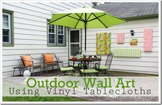 DIY : outdoor wall art using vinyl tablecloths (from In My Own Style)