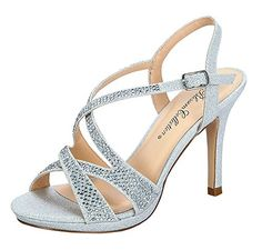 0df7b186956c Marcie38 Womens Shimmer Formal Strappy Heeled Sandal with Rhinestone  Embellishments Silver 10  gt  gt