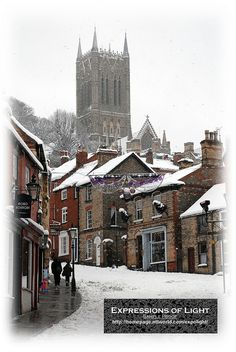 Lincoln, England (snow on Steep Hill included) . I walked every day up this very road to class in Chad Varah house while I was doing my grad dip course in Conservation! What a life. Oh The Places You'll Go, Places To Travel, Travel Destinations, Places To Visit, England Ireland, England And Scotland, Dream Vacations, Vacation Spots, Lincoln England