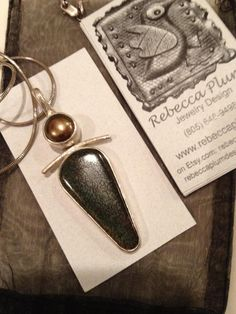 Dinosaur Bone & Gold Pearl by rebeccaplum.net with business card...