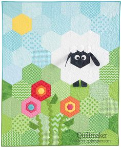 Create an adorable crib quilt using easy-to-piece half hexagons. Designed by: Deonn Stott