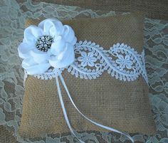 Burlap Ring Bearer Pillow  Rustic Burlap and by MyMontanaHomestead, $25.00