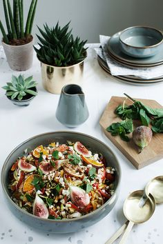 Complex Salad with lentils, grilled citrus, figs and feta cheese. Perfect with the Easter Lamb!