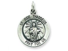 The alluring Sterling Silver Saint Jude Thaddeus Medal Pendant - Chain Included, crafted in 925 Sterling Silver. This product measures 15.00 mm wide, 20.00 mm long. Free 18 inches Sterling Silver Chai