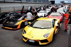 Lamborghini parade. Theres an Aventador and a Gallardo