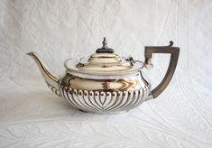 Silver Plated Teapot / Tea Pot, Black Handle, Vintage Art Deco Teapot