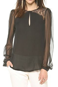So Pretty! Love Black Lace! Sexy Black Lace Mesh Transparent Sheer Black Blouse, The Latest Street Fashion #Sexy #Black #Lace #Fall #Winter #Holiday #Fashion