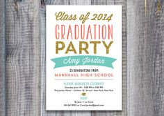 Hollywood glamour printable party invitation pinterest this listing includes modern text block graduation party invitations single sided flat printing crest premium cardstock premium white stopboris Image collections